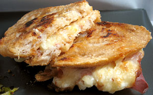 Sour cream adds a little tang to this grilled cheese.