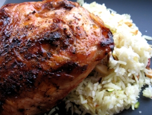 Pomegranate glazed grilled chicken with Middle Eastern nut rice